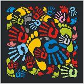 Mixed colour handprints and footprints - vector illustration.