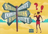 Businesswoman At Career Sign Post Dilemma.