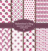 Happy Valentine's Day! Set Of Love And Romantic Seamless Patterns.