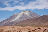 Ollague volcano in Salar De Uyuni, Bolivia