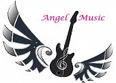 Electric guitar shapewith wing of music text