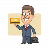 Businessman holding bank card and smiling