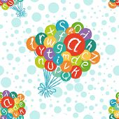 Seamless pattern - funny english alphabet. Hand drawn chalk like letters in colorful air balloons.