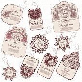Set of ten vintage tags.