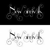 New arrival typography label design