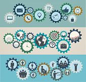 Concept Of Mechanisms With Business Icons, Workforce, Team Working, Business People In Motion, Motiv
