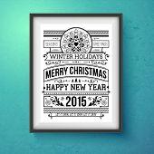 Vintage Christmas design. Realistic frame on the wall.