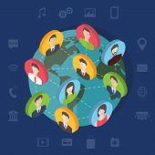 Social media network concept with users. Flat vector.