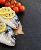 Fresh Dorado Fish And Vegetables Border