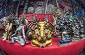 picture of ganesh  - Souvenir statues of Ganesh Buddha and other goddess in the shop of Kathmandu Nepal - JPG