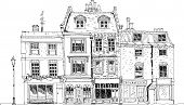 Old English town houses with shops on the ground floor. Sketch collection of famous buildings