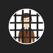 illustration of cartoon businessman in prison, vector