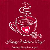 Red Valentine Card With Cup Of Hot Drink And Wishes Text,  Vector
