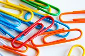 Macro of colourful paper clips