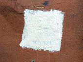 Square White Paint On An Old Plaster Wall