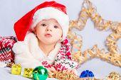 little baby celebrates Christmas