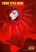 Abstract vector red background with continents and globe for brochure