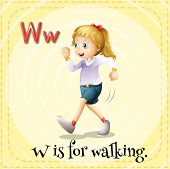 Illustration of a letter W is for walking