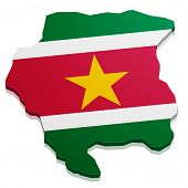 stock photo of suriname  - detailed illustration of a map of Suriname with flag - JPG