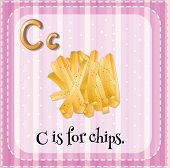 Illustration of an alphabet C is for chips