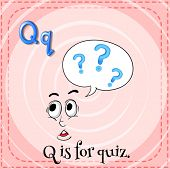 Illustration of a letter Q is for quiz