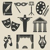 art theater icons set