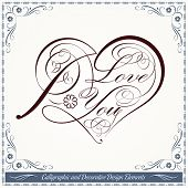 Calligraphic Heart Decorative Valentine Artwork