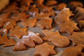 foto of christmas meal  - Gingerbread. The Christmas cookies. Meal and flour