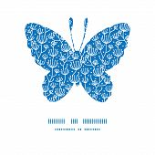 Vector blue white lineart plants butterfly silhouette pattern frame