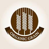 Vintage Style Wheat Label. Vector Logo Design Template. Organic Grain Icon