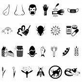 Vector black allergies icons set