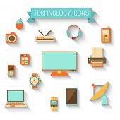 Technology Icons In Flat Style