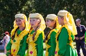 Girls In National Costumes At The Festival Tatar Sabantuy