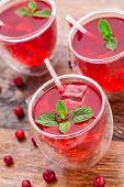Cranberry cocktail with mint garnish.