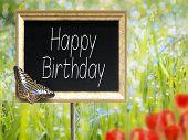 Chalkboard With Text Happy Birthday