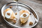 Halves Of Poached Pear On The Vintage Tray