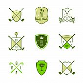 Set Of Vintage Golf Labels, Badges And Emblems On A White Background. Golfing Champion Labels And Ic