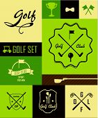 Golf Poster. Vector Labels. Set Golf Icons On A Grassy Green Background. Cup, Ball, Clubs And Golf C