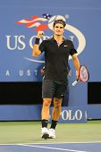 Seventeen times Grand Slam champion Roger Federer during round 4 match at US Open 2014
