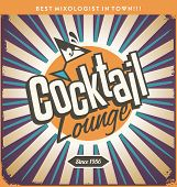 Retro tin sign design for cocktail lounge