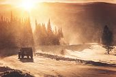 stock photo of wind wheel  - Extreme Winter Road Condition - JPG