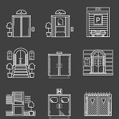 Contour icons vector collection of different types doors