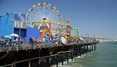 Crowds Flock To The Santa Monica Pieron A Hot Summer Day.