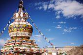 Buddhist stupas in center of Leh city, Ladakh, India - September 2014