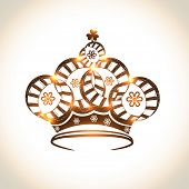 Beautiful floral design decorated crown on shiny background.