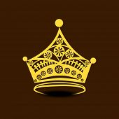 image of pageant  - Golden stylish crown on brown background - JPG