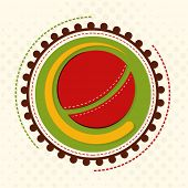 Sticker, label or badge with red ball for Cricket Sports concept on seamless background.