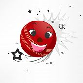 Red ball with funny face on stylish background for Cricket sports concept.