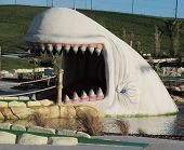 LONDON- JAN 14: The largest Family adventure golf course in the uk, opens in dagenham, london. The theme of the course is the legendary Moby Dick story. LONDON, JAN 14, 2015.