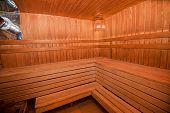 Interior of Finnish wooden sauna